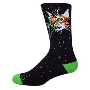 CATZILLA Black/Green/Orange Galaxy Mid-Calf Crew