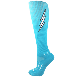 MOXY Socks Cyan Blue with Black Knee-High Insane Bolt Soccer Socks