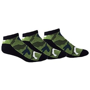 MOXY Socks Black with Army Green CAMMO AMMO Tactical No-Show Performance 3-Pack