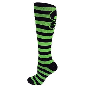Black with Lime Green Skull Stripes Knee-High