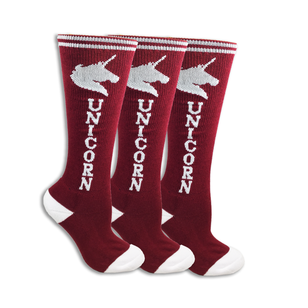 Maroon with White Super! Unicorn Youth 3-Pack