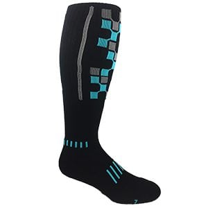 Black with Cyan Blue The Matrix Premium Deadlift Cushioned Socks