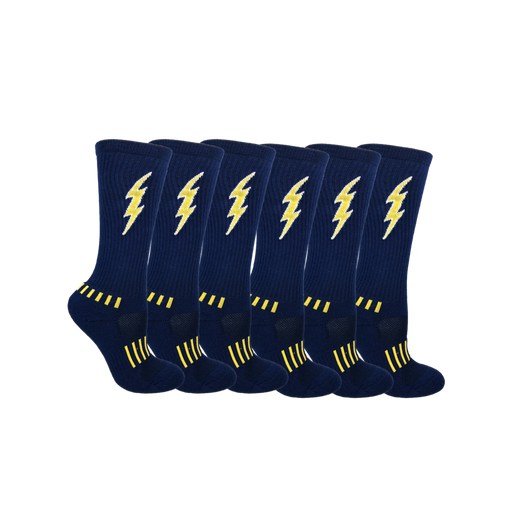 Navy Blue with Yellow Youth Insane Bolt 6-Pack