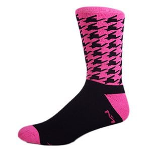 MOXY Socks Black with Hot Pink Houndstooth Crew Socks