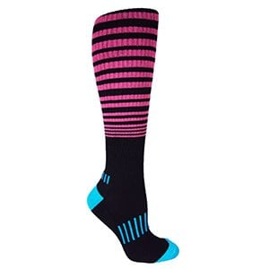 "MOXY Socks Black with Pink/Cyan Knee-High Premium ""The Force"" Fitness Deadlift Socks"