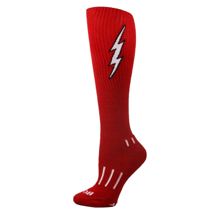 MOXY Socks Red with Black Knee-High Insane Bolt Soccer Socks