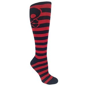 MOXY Socks Black and Red Striped Skater Skull Knee-High Socks