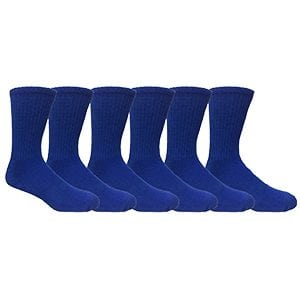 MOXY Socks Royal Blue Running Buddy Performance Athletic Running Crew Socks 6-Pack