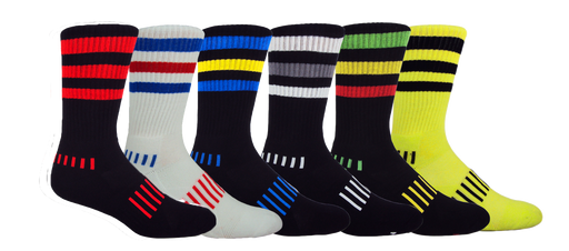 MOXY Socks Performance Athletic Triple Stripe Crew 6-Pack