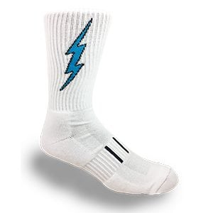 MOXY Socks White Mid-Calf Crew Lightning Electric Insane Bolt Socks
