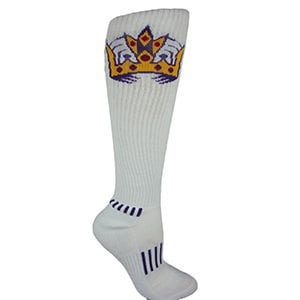 MOXY Socks Knee-High White with Purple KING CROWN Deadlift Socks