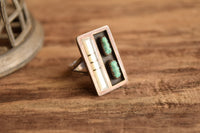 Size 8.75 Rectangle Modernist Turquoise Ring - Zuni Floretine Panteah