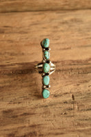 Long Multi-Stone Turquoise Ring - Size 6.5