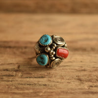 Navajo Max C Turquoise and Red Coral Vintage Ring