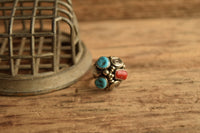 Dome Turquoise and Coral Ring - Max Calabaza