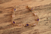 Amethyst and Rose Quartz Scarab Bracelet - 14 K Gold Filled