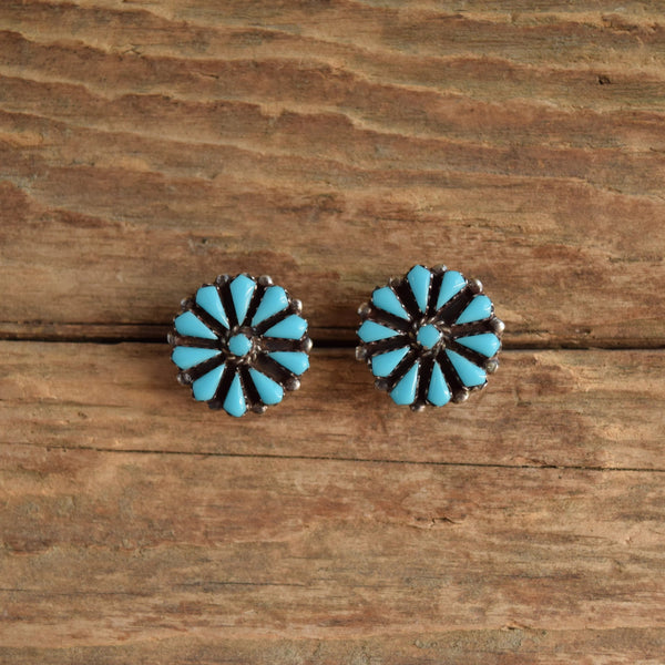 Native American Zuni Turquoise Cluster Stud Earrings