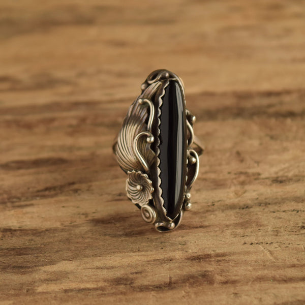 Long Onyx Ring with Floral Detail - Size 10