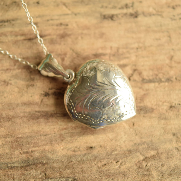Etched Silver Heart Locket