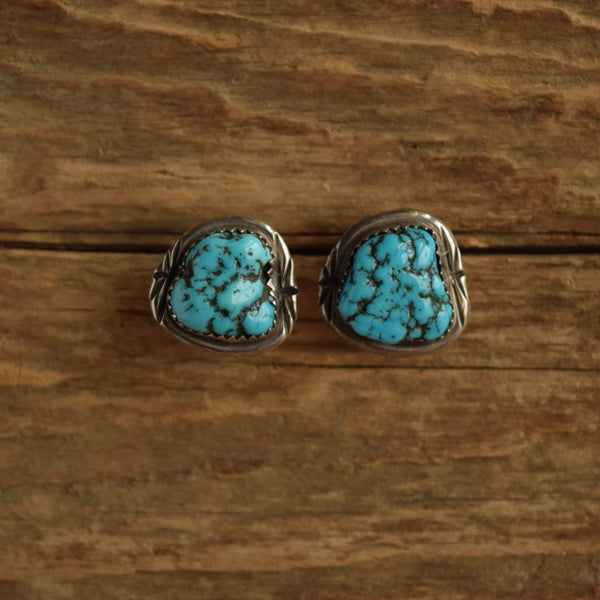 turquoise nugget earrings navajo made