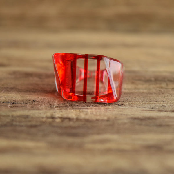 Lucite Red Striped Vintage Ring Size 9