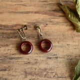 Red Bakelite Circle Earrings