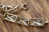 Mid Century Sterling Silver Rectangle Link Bracelet