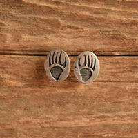 Hopi Silver Overlay Bear Paw Earrings by Raymie Namingha