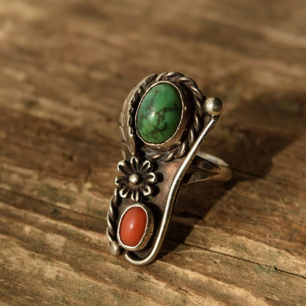 Size 7 Turquoise and Coral Native American Ring in Sterling