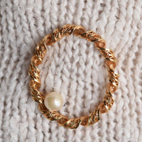 Gold filled brooch with pearl by YournNonce