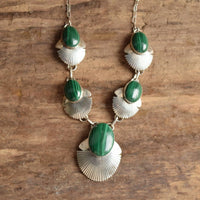 Malachite Necklace by Navajo L James Native American Sterling Silver Green Gemstone Jewelry