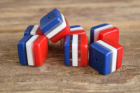 Cube beads - Red White and Blue beads - laminate lucite beads - patriotic beads - square beads - striped beads - retro beads - 4th of july