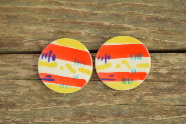 colorful striped round earrings - 1980s vintage