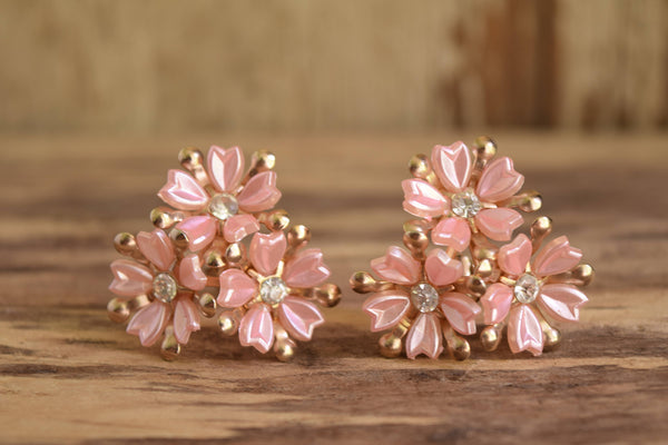 Pink Flower Clip On Earrings