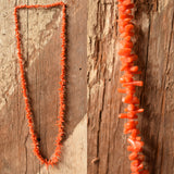 Orange Red Coral Branch Necklace - Natural Coral 28 inch necklace, Resort Jewelry, Tropical Jewelry, Mermaid