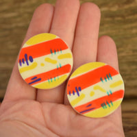 Colorful Striped Round Earrings
