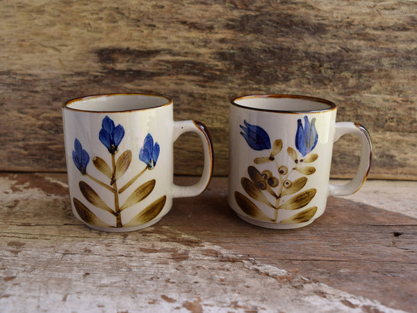 Hand Painted Blue Flower Mugs