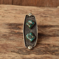 Dual Stone Turquoise Ring - Size 6.5