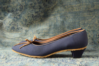 Blue and Tan Kitten Heels - Size 8 Slim