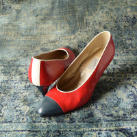 Size 6.5 Red White and Blue Pumps - 1980's vintage