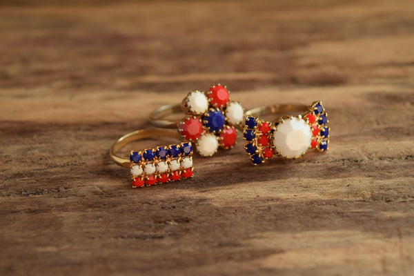 Red White and Blue Rhinestone Rings