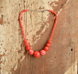 Cherry Red Marbled Necklace