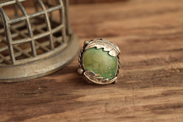 Round Turquoise Ring - Size 11 1/4 - Large Rugged Southwestern turquoise Ring - Natural Stone Leaf Jewelry