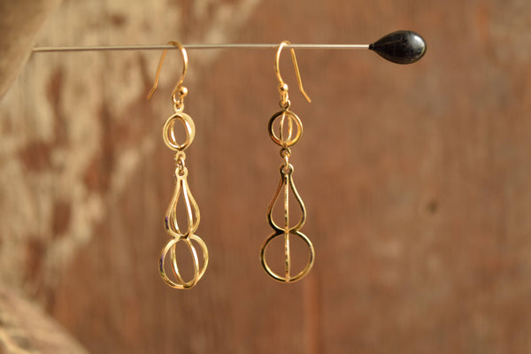 Open work Gold Toned Earrings