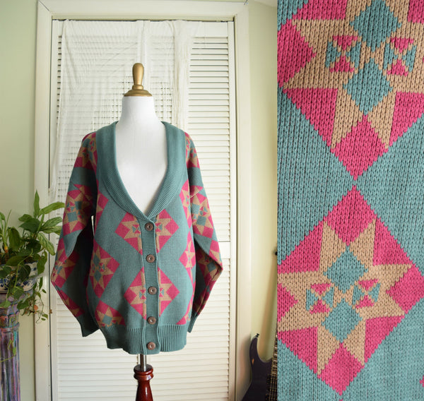 Southwestern Sweater - Large Oversized V-neck Cardigan