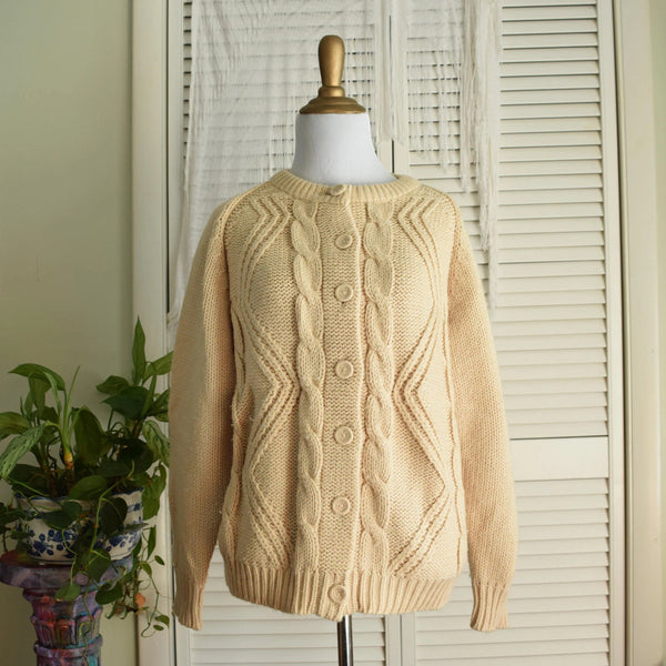 Beige Cable knit Cardigan - Small / Medium