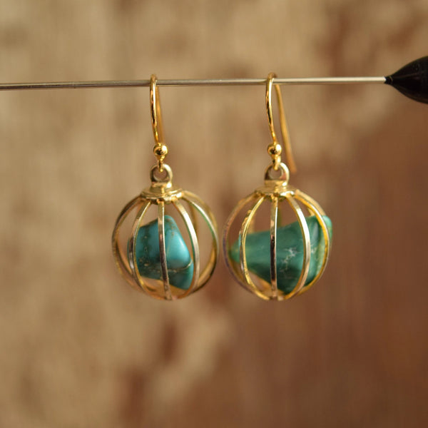 Caged Turquoise Dangle Earrings