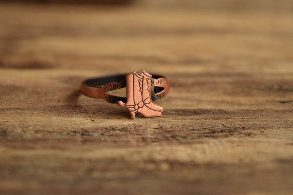 Cowboy Boot Ring - Size 7-11 Adjustable