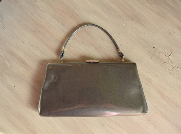 Grey vintage handbag or Clutch - Faux patent leather clutch - shimmer gray evening bag