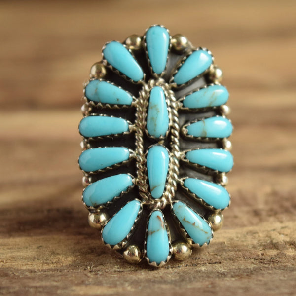 Turquoise Cluster Ring *Modern* Size 9.5 - Navajo Native American
